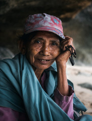 Portrait of an old Indonesian woman