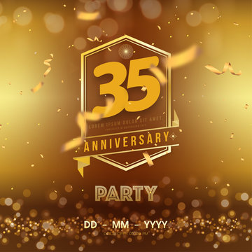 35 years anniversary logo template on gold background. 35th celebrating golden numbers with red ribbon vector and confetti isolated design elements
