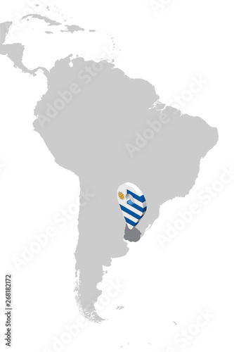 Map Of America 3d Vector.Uruguay Location Map On Map South America 3d Uruguay Flag Map
