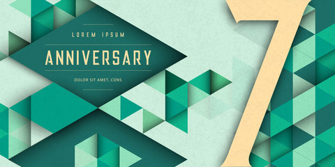 Anniversary emblems celebration logo, 7th birthday vector illustration, with texture background, modern geometric style and colorful polygonal design. 7 Anniversary template design, geometric design