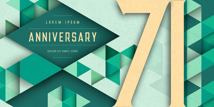 Anniversary emblems celebration logo, 71st birthday vector illustration, with texture background, modern geometric style and colorful polygonal design. 71 Anniversary template design, geometric design