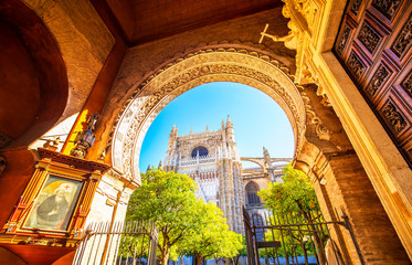 Wall Mural - Seville Cathedral and Giralda tower photo