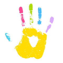 Colorful kid hand print vector icon