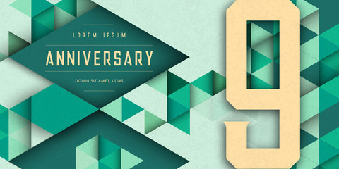 Anniversary emblems celebration logo, 9th birthday vector illustration, with texture background, modern geometric style and colorful polygonal design. 9 Anniversary template design, geometric design