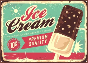 Ice cream vintage tin sign. Retro promotional vector poster for sweet chocolate icecream.