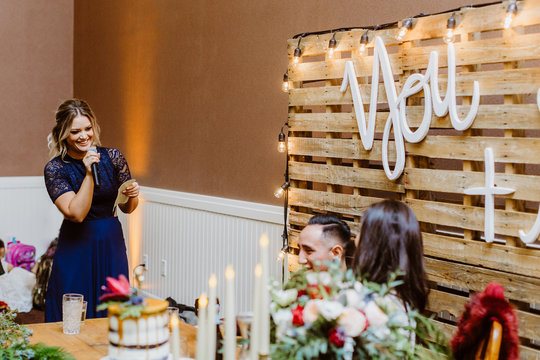 Maid of Honor Bridesmaid Giving Toast During Wedding