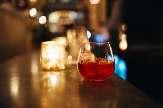 Elegant cocktail in a bar setting