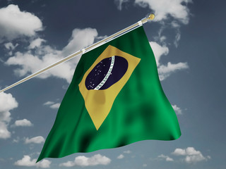 Brazil flag Silk waving flag emblem yellow rhombus blue circle Order and Progress of Federative Republic of Brazil with a flagpole on a sunny gray blue sky background with white clouds 3D illustration