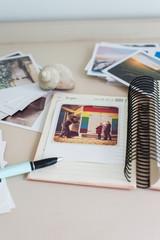 making a photo album with polaroids