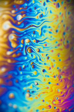 Reflections of a soap bubble close up