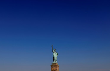The Statue of Liberty is seen on Liberty Island in New York Harbor