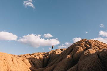 Boy with his dog walking at desert.