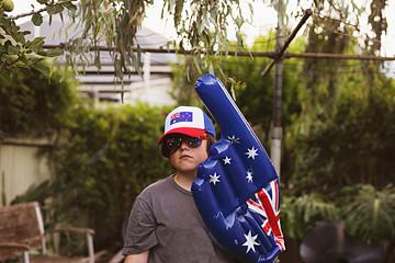 Aussie bogan child celebrating Australia Day