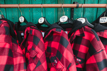Red Lumberjack Flannels at Emerald Lake