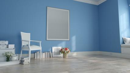 Mock up poster frame in blue home decor