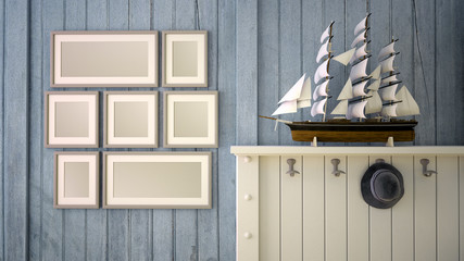 Nautical decor with mock up picture frames
