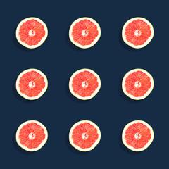 Pattern of 6 Grapefruits on Dark Navy Background