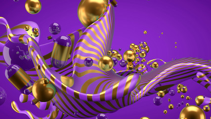 Foto op Aluminium Abstractie Art Beautiful group background with elements, color and gold. 3d illustration, 3d rendering.