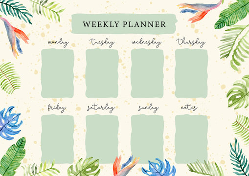 weekly planner with tropical summer floral watercolor background