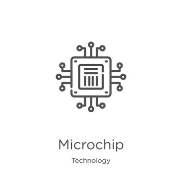 microchip icon vector from technology collection. Thin line microchip outline icon vector illustration. Outline, thin line microchip icon for website design and mobile, app development.
