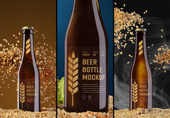 3 Beer Bottle Mockups with Hops, Grain, and Smoke Elements