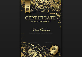 Certificate of Achievement Layout with Gold Ribbon Accents