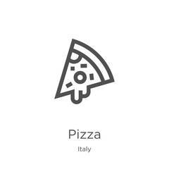 pizza icon vector from italy collection. Thin line pizza outline icon vector illustration. Outline, thin line pizza icon for website design and mobile, app development.
