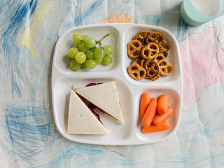 Plated kid's lunch for school on drawing
