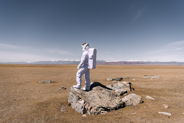 Astronaut standing on rock