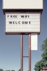 Sign  saying Welcome, Free Wifi