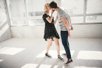 young couple playing.