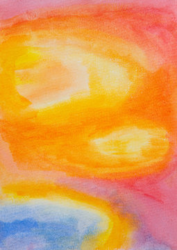 Watercolour abstract painting of yellow, orange and blue tones