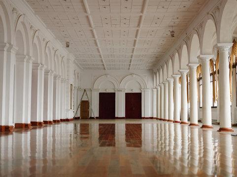 Empty spacious ballroom with shiny floor
