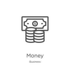 money icon vector from business collection. Thin line money outline icon vector illustration. Outline, thin line money icon for website design and mobile, app development.