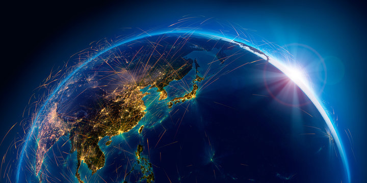 Detailed air routes on Earth. 3D rendering