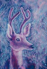 Fairy tale violet deer soft pastel hand drawing