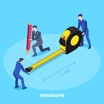 isometric vector image on a blue background, a man in a business suit holds a large tape measure and another with a pencil makes measurements, teamwork in the office