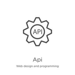 api icon vector from web design and programming collection. Thin line api outline icon vector illustration. Outline, thin line api icon for website design and mobile, app development.