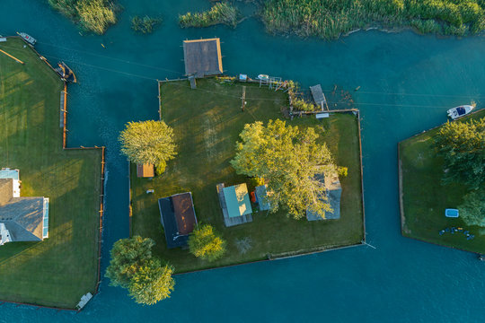 Houses in the St. Clair River Estuary, Michigan