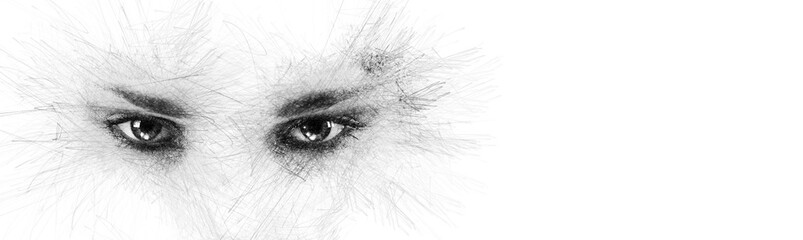 Pencil sketch face silhouette woman eyes looking at camera aside on white background copy space for your conceptual text advertisement. Image digitally altered digital effects Fotomurales