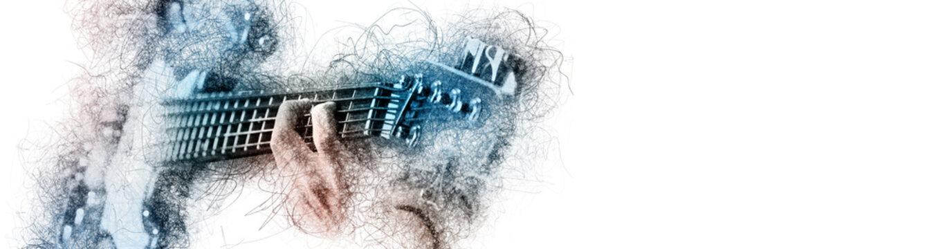 Man holding playing a guitar, blue brown color image with digital effects sketch silhouette on white panoramic background copy free space for your conceptual advertisement text