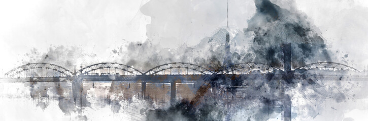 Panoramic image digital watercolor painting of a Railway bridge over the Daugava river. Riga, Latvia