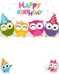 Happy birthday with cute owl