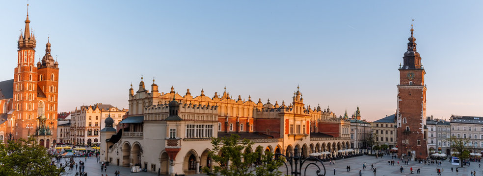 view of the main square of krakow and mariac church at spring