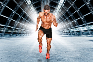 Muscular Men in Running Motion. Handsome Male Athlete Sprinting Wall mural