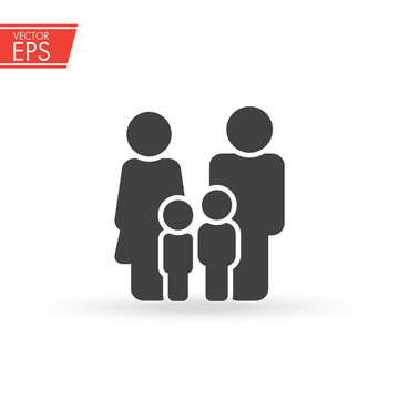 Family icon. Happy family icon in simple figures. two children, dad and mom stand together. Parents with child symbol. The sign of unity, mutual understanding and love in the family.
