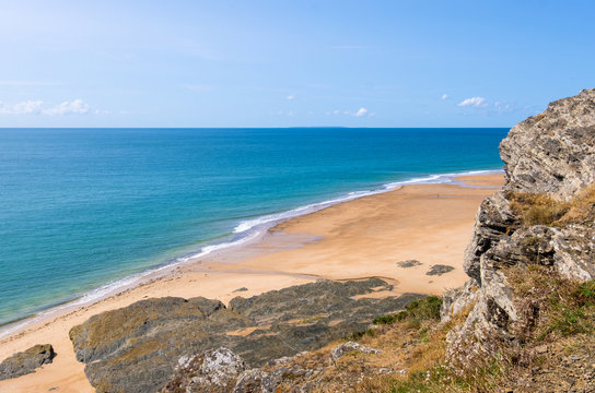 Rocky coast and beach on the Cape Carteret. Normandy, France