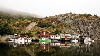Quidi Vidi Village along a coastline in Newfoundland, Canada.