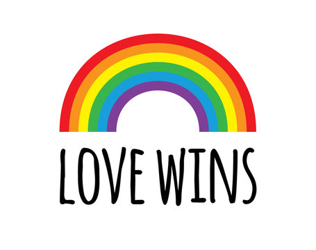Vector flat cartoon lgbt pride rainbow love wins lettering isolated on white background