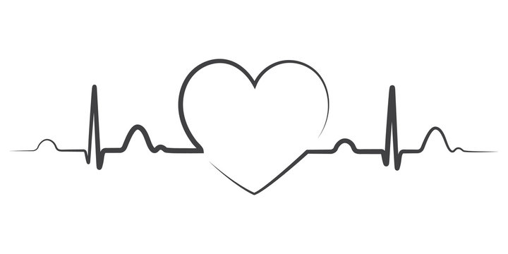 Heart beat monitor pulse line art icon for medical apps and websites. breathing and alive sign red love heart. Red Medic blood pressure , cardiogram, health EKG, ECG logo. Heart in flat outline style.